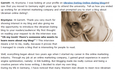 Ukrainian Dating Interview