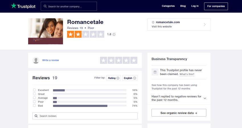 Romancetale trustpilot