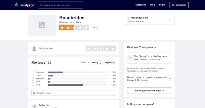 Rosebrides trustpilot