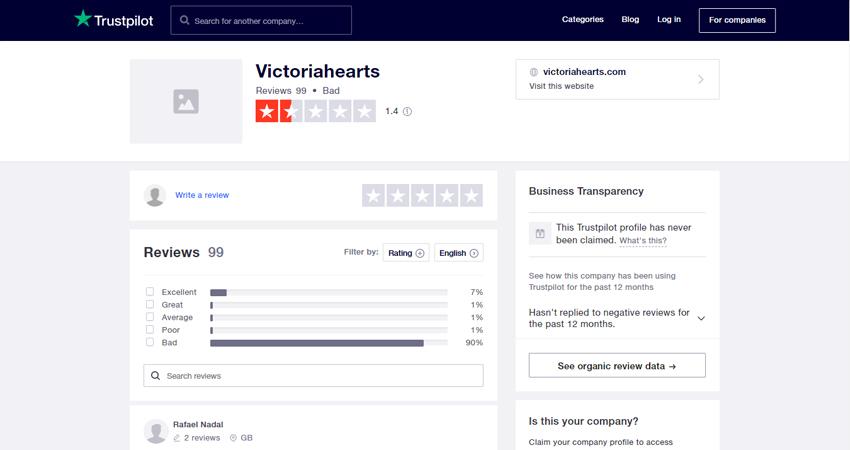 Victoriahearts trustpilot